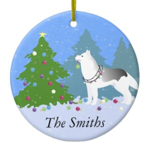 Siberian Husky Decorating Christmas Tree -Forest Ceramic Ornament