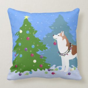 Siberian Husky Decorating Christmas Tree -Forest Throw Pillow