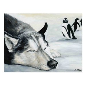 Siberian Husky Dog Art Postcard