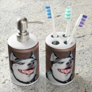 Siberian Husky dog blue eyes Soap Dispenser & Toothbrush Holder