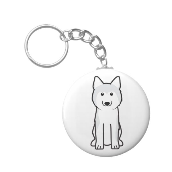 Siberian Husky Dog Cartoon Keychain