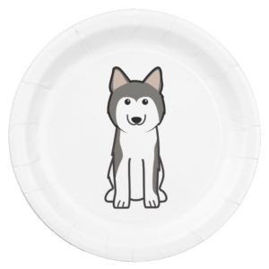 Siberian Husky Dog Cartoon Paper Plate
