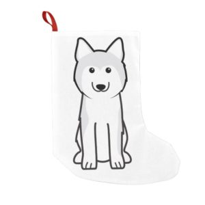 Siberian Husky Dog Cartoon Small Christmas Stocking