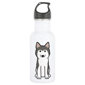 Siberian Husky Dog Cartoon Water Bottle