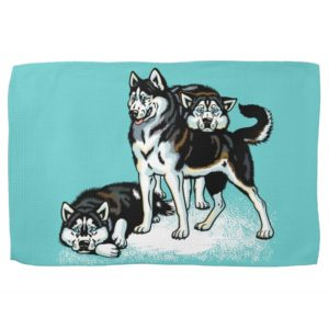 siberian husky kitchen towel