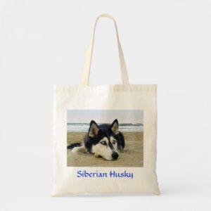Siberian Husky on the Beach Budget Tote Bag