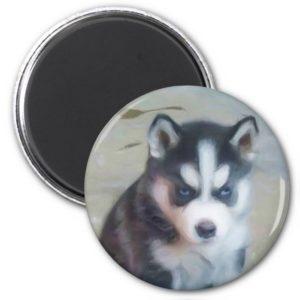 Siberian Husky puppy art Magnet