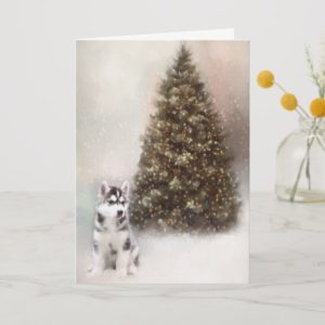 Siberian Husky Puppy Christmas Card
