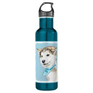 Siberian Husky Puppy Painting - Original Dog Art Water Bottle