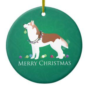 Siberian Husky - Red - Merry Christmas Design Ceramic Ornament
