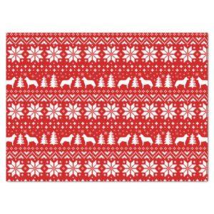 Siberian Husky Silhouettes Christmas Pattern Tissue Paper