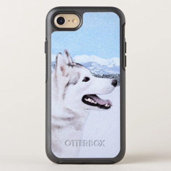 Siberian Husky (Silver and White) Painting Dog Art OtterBox iPhone Case