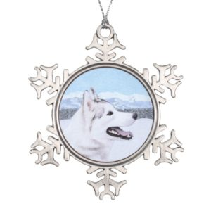 Siberian Husky (Silver and White) Painting Dog Art Snowflake Pewter Christmas Ornament