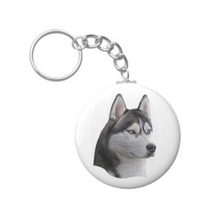 Siberian Husky - Stylized Image - Add Your Text Keychain