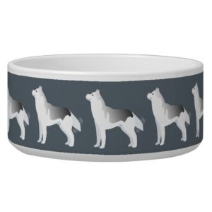 Silver Siberian Husky Basic Breed Customizable Bowl