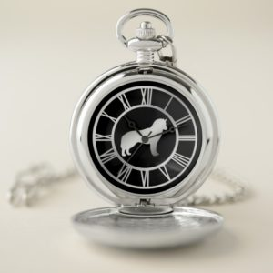 Silver Siberian Husky Dog Pocket Watch