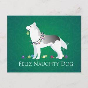 Silver Siberian Husky Feliz Naughty Dog Christmas Holiday Postcard