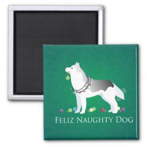 Silver Siberian Husky Feliz Naughty Dog Christmas Magnet