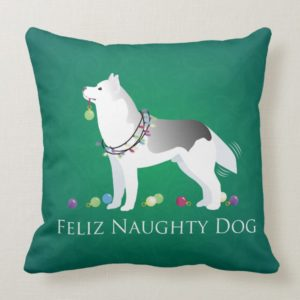 Silver Siberian Husky Feliz Naughty Dog Christmas Throw Pillow