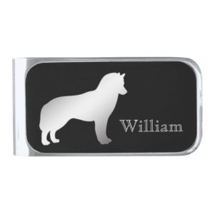 Silver Siberian Husky Personalized Silver Finish Money Clip