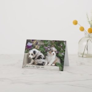 Sky Blue Aussies Notecard Puppies 1