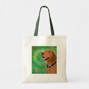 Smiling Brown Vizsla on Green Background Tote Bag