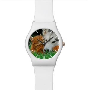 Somali Cat Siberian Husky Cute Friends  dial-plate Wrist Watch