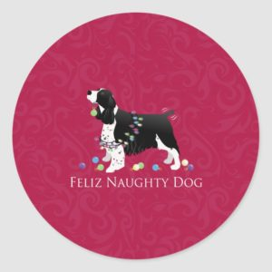Springer Spaniel Christmas Design Classic Round Sticker