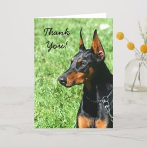 Thank You Doberman Pinscher greeting card