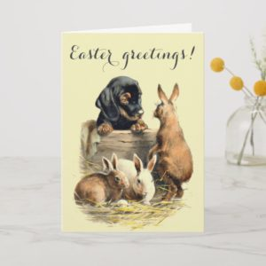Vintage Easter dachshund doggy Holiday Card