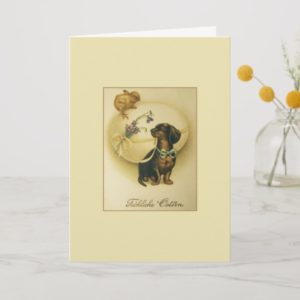 Vintage German Dachshund Easter Card