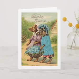 Vintage Happy Birthday Dachshunds, Card