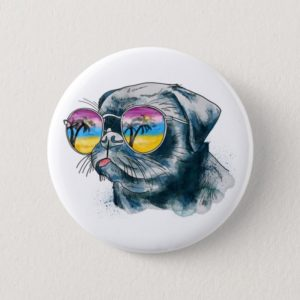 Watercolor Tropical Puppy Button