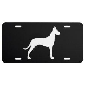 White Great Dane Silhouette License Plate