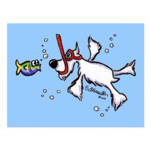 White Schnauzer Snorkeling Under Blue Sea Postcard
