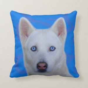 White Siberian Husky Throw Pillow