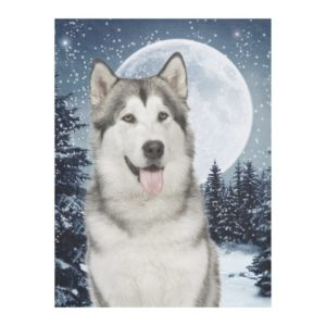Winter Moon Husky Fleece Blanket