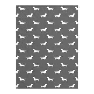 Wire Haired Dachshund Silhouettes Pattern Grey Fleece Blanket