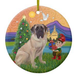 Xmas Fantasy - Bull Mastiff Ceramic Ornament