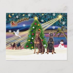 Xmas Magic-Doberman Pair Holiday Postcard