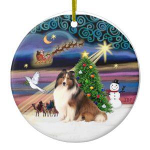 Xmas Magic - Sheltie #7 Ceramic Ornament